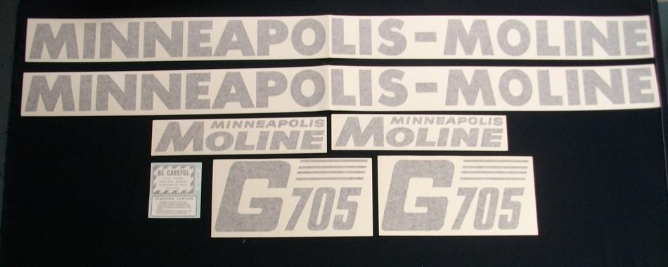 Minneapolis Moline Decals : G slanted vinyl cut